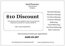 All new Clients receive $10 discount on first 2 treatments Wingham Reflexology 3